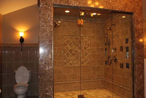 Custom Marble Dual Rainshower Walk-in